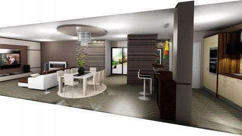 plan de mobilare open space living cu bucatarie