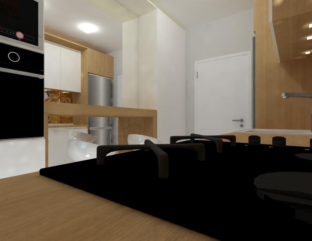 design interior bucatarie lunga